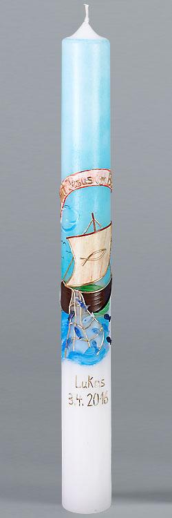 Kommunionkerze, 5866, 400x40, weiß, Mit Jesus im Boot, blau, gold