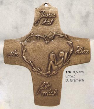 Bronzekreuz, 176, Jesus hat ein Herz für mich..., h=9,5cm