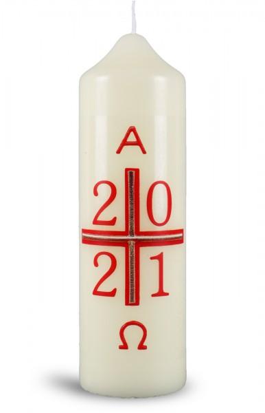 Ostertischkerze, 1274F, 165x50, Kreuz-rot-gold mit Jahreszahl., Fotodruck!