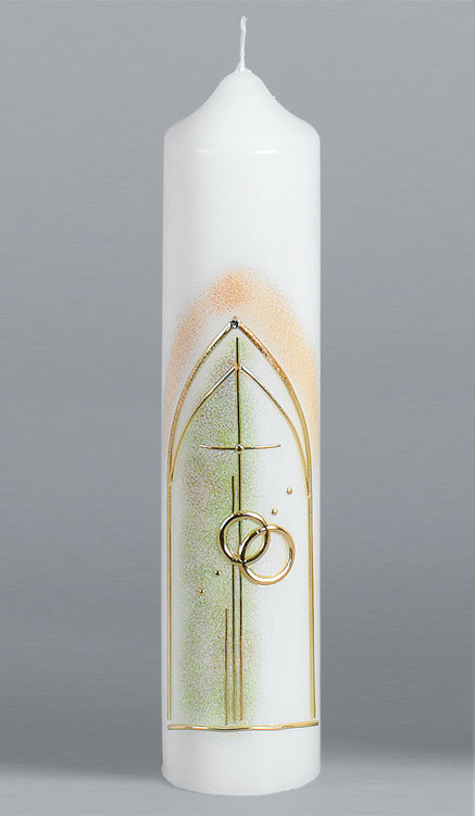 Hochzeitskerze, 1609, 265x60, Kreuz-Ringe, gold, ---Abverkauf---