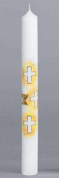 Kommunionkerze, 2426, 400x40, weiß, Kreuze, Kelch, ---Abverkauf---