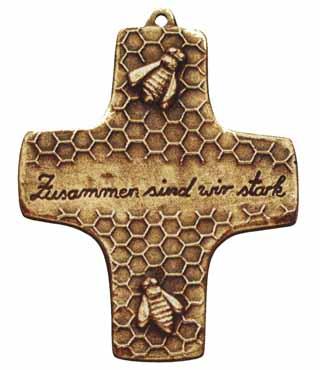 Bronzekreuz, 140, Bienenwabe, h=10cm