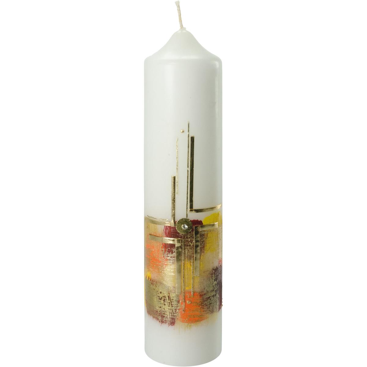 Liturgische Kerze, #2614, 265x60, Wachskreuz, orange