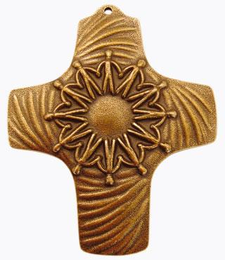 Bronzekreuz, 802020, Wir reichen uns die Hände, 9x8cm
