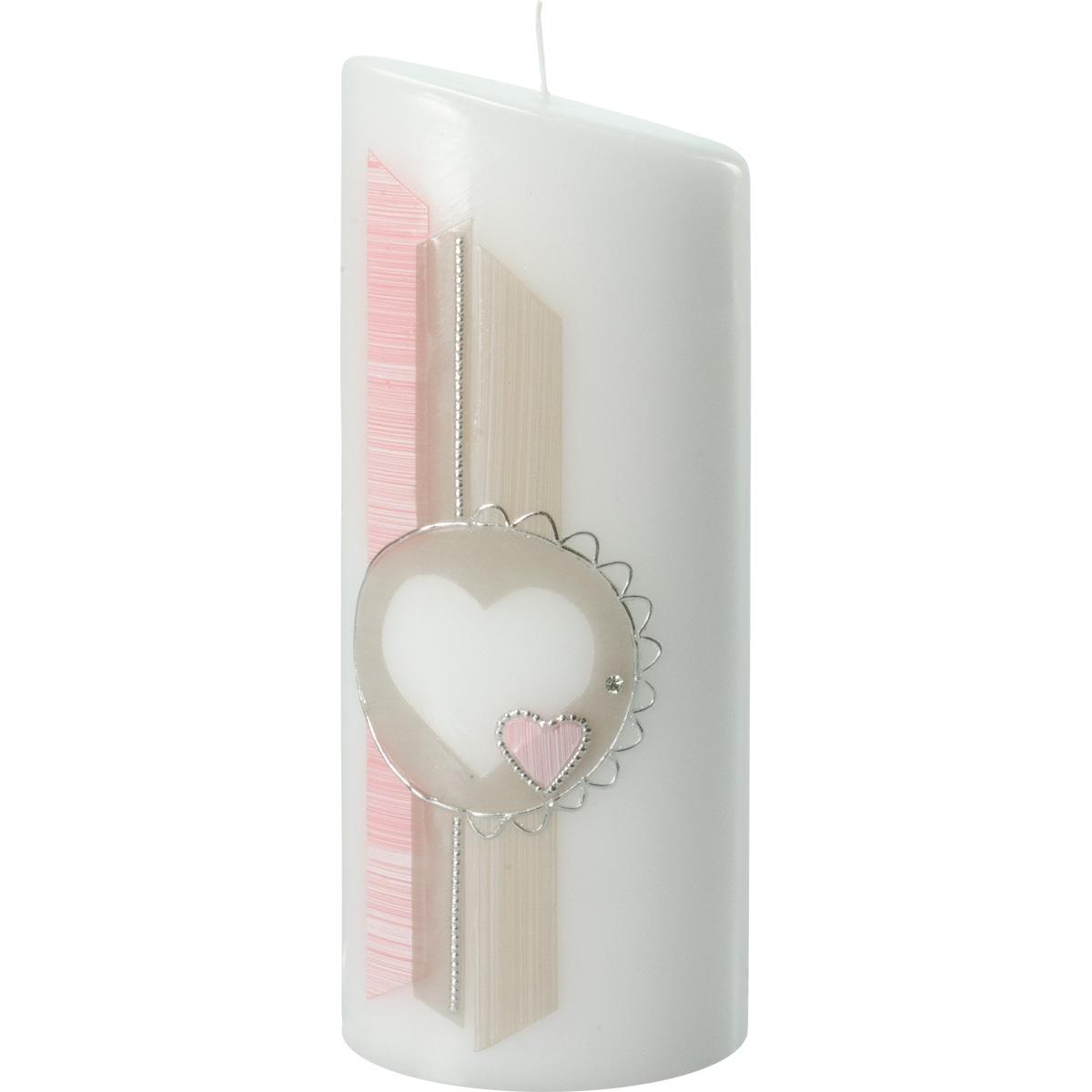 Hochzeitskerze, 5017, Oval 230x90x60, Herz, rosa-taupe-silber