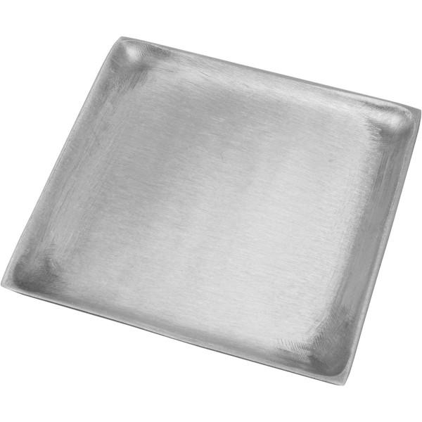 Kerzenteller, quadrat, 11 x 11 cm, silber matt