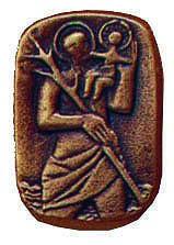 Christophorusplakette CH1, bronze, Durchm. ca. 4,5cm