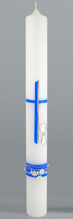 Kommunionkerze, 5896, Kreuz/Kelch, Perlen, blau, neu, Größe wählbar