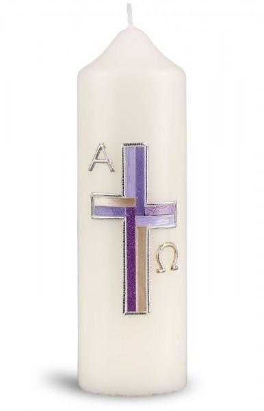 Ostertischkerze, 6051, 165x50, Kreuz, silber ornamentiert, A+Ω in silber