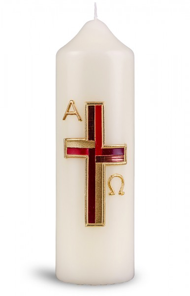 Ostertischkerze, 6047, 165x50, Kreuz ornamentiert, A+Ω in gold