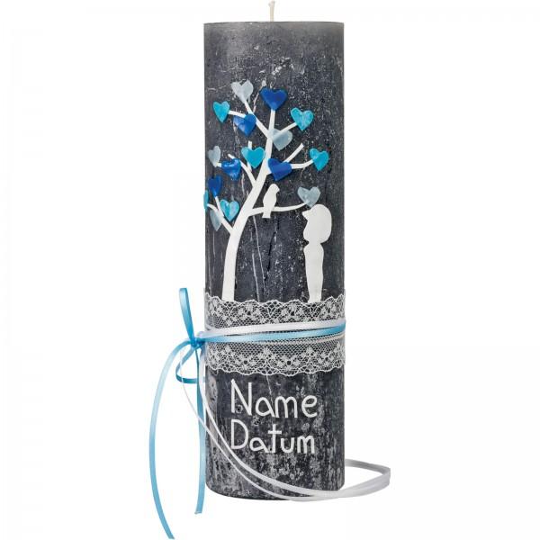 Taufkerze, Rustik, 23 x 7 cm, anthrazit, Baum, blau, Spitze und Band