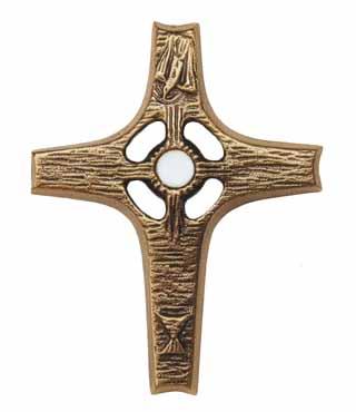 Bronzekreuz, 172B, mit Bergkristall, h=10cm