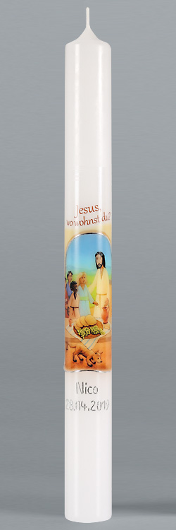 Kommunionkerze, 5918, 400x40, weiß, Jesus, wo wohnst Du?, silber, BFW