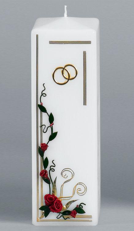 Hochzeitskerze, 15, Vierkant 250x80, gold, ---Abverkauf---