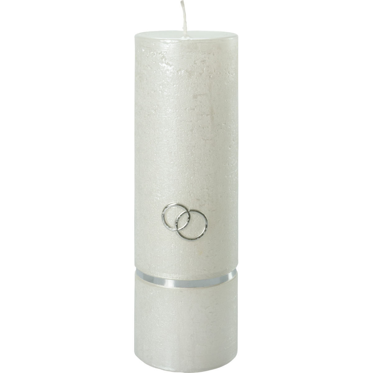 Hochzeitskerze, #5024, Rustikal 230x70, Borde, Ringe, silber