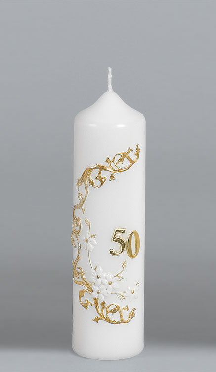 Goldene-Hochzeitskerze, 2516, 220x60, ---Abverkauf---