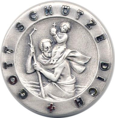 Christopherusplakette, Gott schütze Dich ,silb, D=3cm, selbstkl.+Magn.