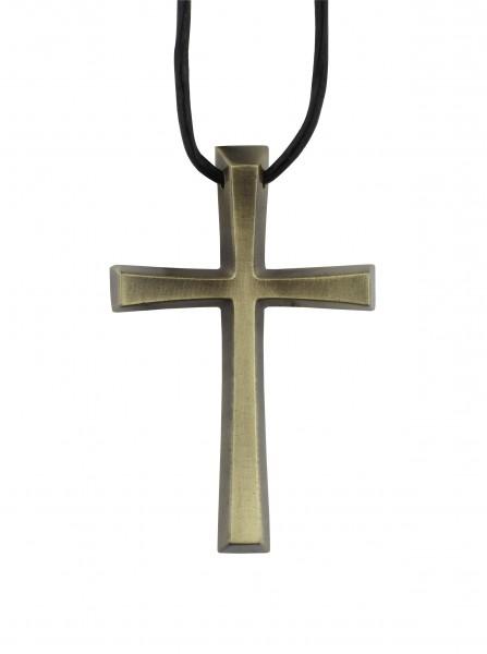 Kreuz aus Metallguss, Umhängekreuz, Ministrantenkreuz, 5 cm, mit Band, Altmessing
