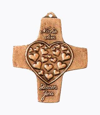 Bronzekreuz, 155, Nahe dem Herzen Jesu, h=9,5cm