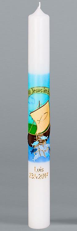 Kommunionkerze, 5903, Mit Jesus im Boot, blau, gold, Größe wählbar