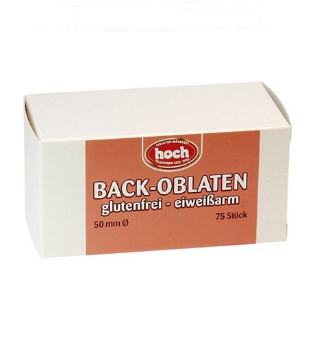 75 glutenfreie Oblaten, eiweißarm, D=50mm