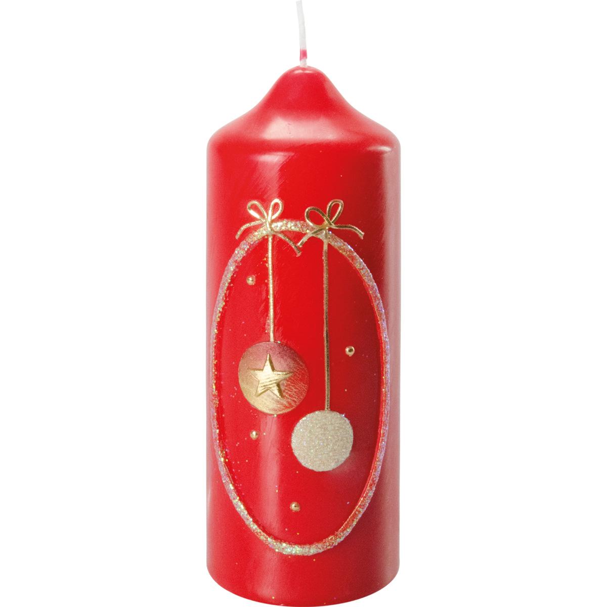 Weihnachtskerze, #2741, 16,5 x 6 cm, rubin, 2 Sterne, gold