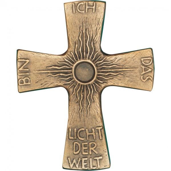 Bronzekreuz, 800998, Ich bin das Licht der Welt, 9,5x8cm