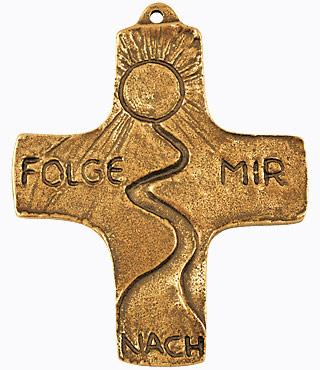 Bronzekreuz, 802038, Folge mir nach, 8,5 x 7,5 cm