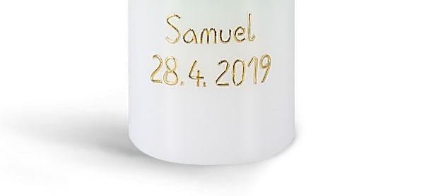Namen und/oder Datum, Arial, gold, pauschal je Kerze