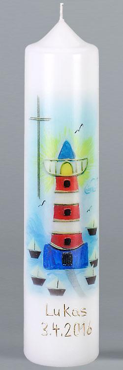 Kommuniontischkerze, F4883, 265x60, weiß, Fotodruck, Leuchtturm