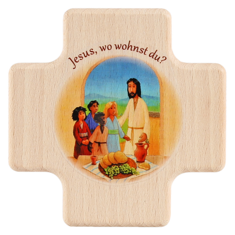Holzkreuz, 18HK01, ca. 80x80x13mm, Buche, Jesus, wo wohnst Du? BFW