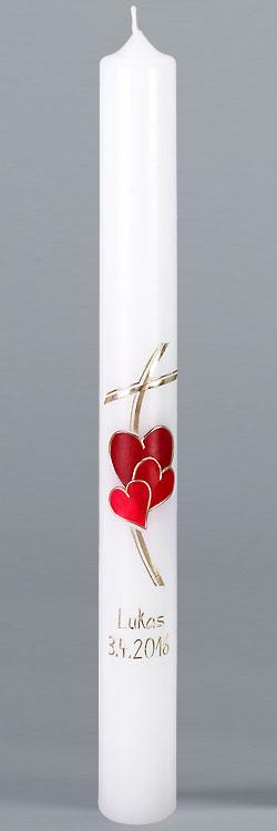 Kommunionkerze, 5865, Herz, Liebe Gottes, rot, gold, Größe wählbar