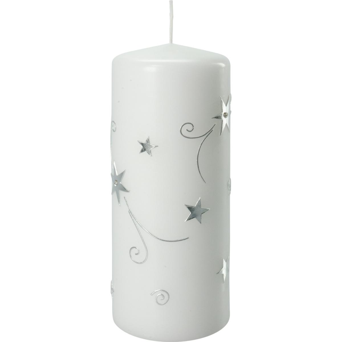 Weihnachtskerze, 3013, 20 x 8 cm, weiß, Sterne, silber