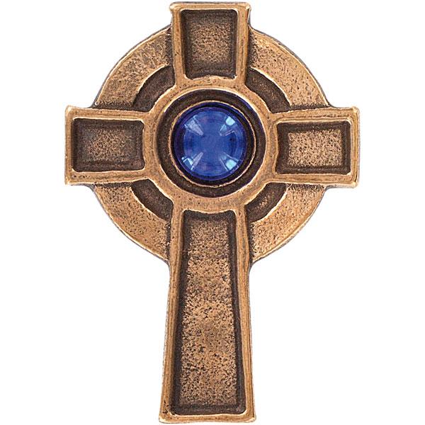 Bronzekreuz 143758, h=6cm, Irisches Kreuz, m. blauem Stein