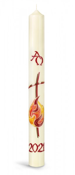 Osterkerze, Osterfeuer, Jesus das Licht der Welt, Kreuz, rot, gold