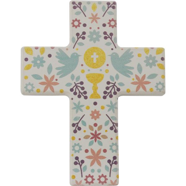 Holzkreuz, 810122, Symbole, Kelch, Brot, Tauben, 9x7cm, Holz bedruckt