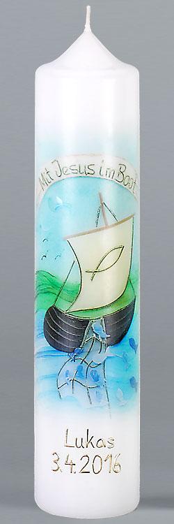 Kommuniontischkerze, F4890, 265x60, weiß, Fotodruck, Mit Jesus im Boot