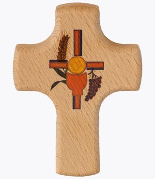 Holzkreuz, 810008, Kelch/Brot, 9x7cm