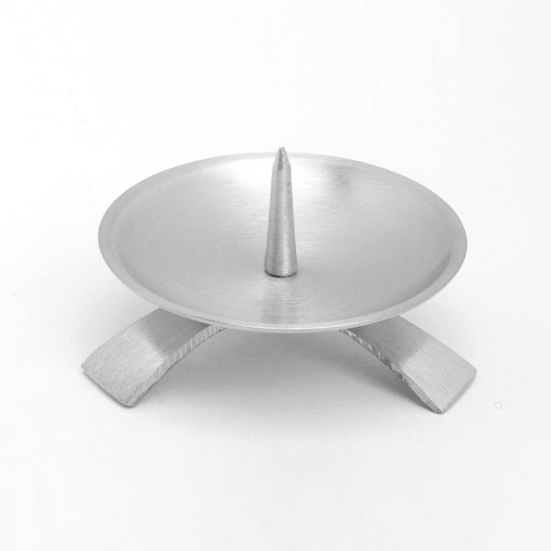 Dreifußleuchter mittel, silber matt, Ø11,5cm, f. Kerzen bis Ø7cm, [6]