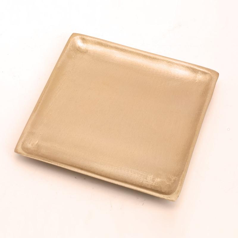Kerzenteller, quadrat, 9 x 9 cm, gold matt