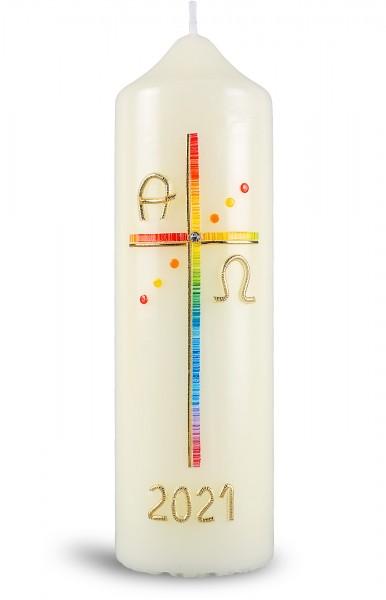 Ostertischkerze, 21.otk-06, Kreuz Regenbogenfarben, mit Jahreszahl gold