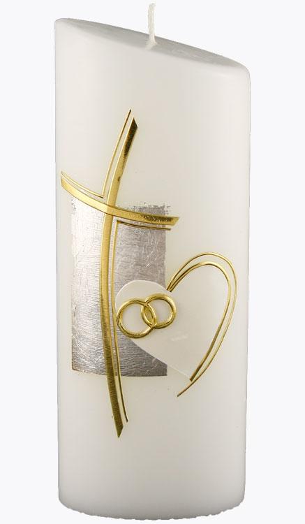 Hochzeitskerze, 4416, Oval 230x90x60, weiß, Kreuz gold geschw., Herz
