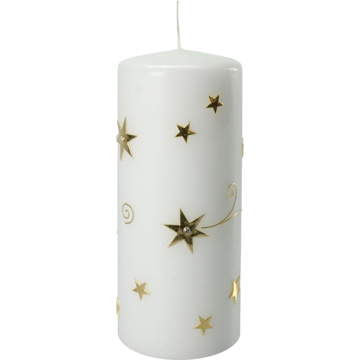 Weihnachtskerze, 3014, 20 x 8 cm, weiß, Sterne, gold