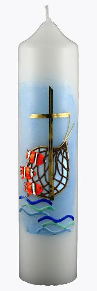Kommuniontischkerze, 4827, 265x60, weiß, Fische & Netz, blau, gold