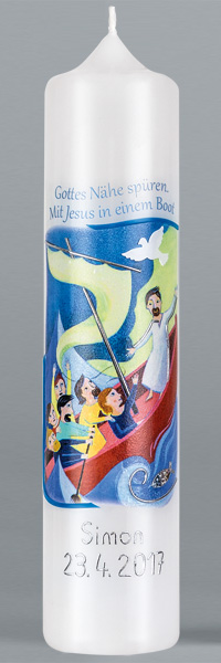Kommuniontischkerze, 4916, 265x60, weiß, Mit Jesus in einem Boot, BFW