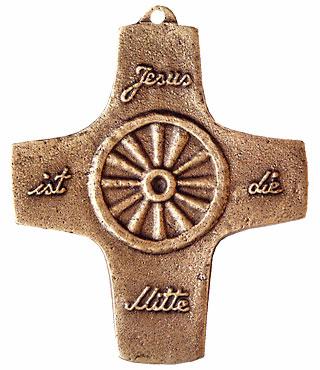 Bronzekreuz, 157, Jesus ist die Mitte, Rad, h=9,5cm