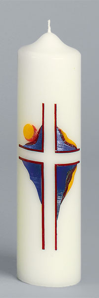 Liturgische Kerze, 2647, 275x70, Kreuz, rot-gold, ---Abverkauf---