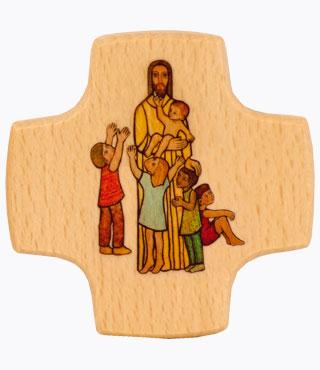 Holzkreuz, 810010, Jesus der Kinderfreund, 8x8cm