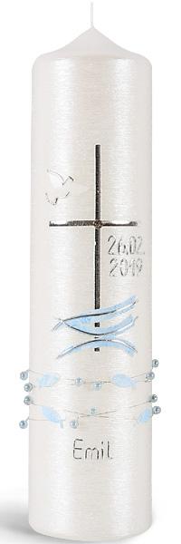 Taufkerze, -Emil-, 250x60, Silberglanzstruktur, Kreuz, Taube