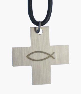 Umhängekreuz, 1007, Edelstahl, Fisch, 3x3cm, mit Lederband